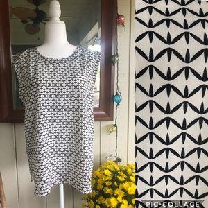 J. Crew - Black/White design sleeveless blouse.